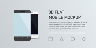 Иллюстрация Minimalistic плоская мобильного телефона Smartphone модель-макета родовой Стоковая Фотография RF