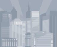 Иллюстрация monochrome зданий города Стоковая Фотография RF