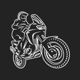 Иллюстрация monochrome логотипа водителя мотоцикла enduro гонки Motocross весьма Стоковые Изображения