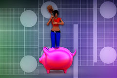 иллюстрация piggybank женщины 3d Стоковое Изображение RF