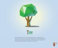 Иллюстрация PrintVector полигональная зеленого дерева, современного низкого поли экологического значка Стоковые Фотографии RF