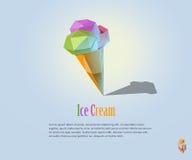 Иллюстрация PrintVector полигональная мороженого на конусе waffle, современном значке еды, низком поли стиле Стоковое Изображение
