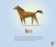 Иллюстрация PrintVector полигональная лошади, современного низкого поли животного значка, объекта стиля origami Стоковые Изображения RF