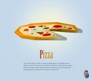 Иллюстрация PrintVector полигональная пиццы, современного значка еды, низкой поли, итальянской кухни Стоковые Изображения RF