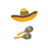 Иллюстрация sombrero и maracas Мексиканские традиционные атрибуты иллюстрация штока