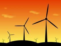 Иллюстрация Windpark на заходе солнца Стоковые Изображения