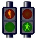 Идя светофоры человека иллюстрация вектора