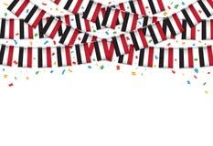 Йемен сигнализирует предпосылку гирлянды белую с confetti, овсянкой вида для йеменского, иллюстрация вектора