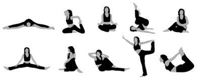 йога вектора 2 девушок Стоковое фото RF