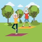 Йога для пожилых людей иллюстрация штока
