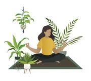 Йога дома Раздумье молодой женщины или мама счастливая ослабляют в домашней концепции вектора парника комнаты джунглей сада иллюстрация вектора