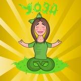 Йога девушки практикуя в положении лотоса иллюстрация штока