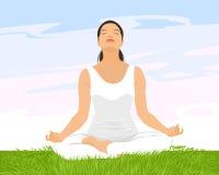 йога девушки практикуя Стоковые Фотографии RF