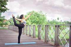 Йога женщины практикуя ослабляет в предпосылке природы и голубого неба Стоковое фото RF