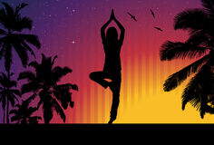 йога захода солнца девушки Стоковые Изображения RF