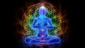 Йога и раздумье, цветок символа жизни иллюстрация вектора
