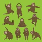 Йога лени Различные представления Набор вектора Все элементы изолированы Милые животные иллюстрация вектора