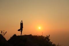 Йога на верхней горе Стоковые Фотографии RF