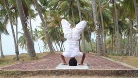 Йога на тропической деревне сток-видео