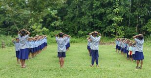 Йога на школе стоковые фото