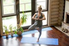 Йога дома: Представление дерева Стоковое Изображение