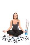 йога положения девушки ослабляя Стоковое Изображение