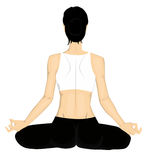 йога предпосылки изолированная девушкой белая Стоковая Фотография