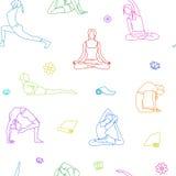 Йога представляет красочную картину плана Линия иллюстрация предпосылки Позиции женщины Стоковое фото RF