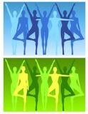 йога пригодности предпосылок женская Стоковые Изображения RF