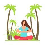Йога раздумья девушки на природе Пальма и женщина фитнеса характера иллюстрация вектора