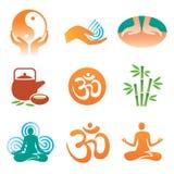 йога спы массажа икон Стоковое Фото