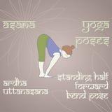 йога Стоящее половинное переднее представление загиба Стоковое фото RF