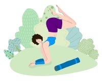 йога темы спорта съемки парка кобры напольная иллюстрация вектора