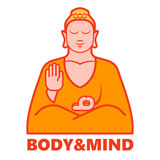 Йога тела и разума, изолированный логотип Будды в векторе бесплатная иллюстрация