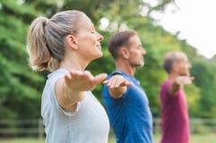 йога людей делая группы Стоковое Изображение