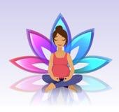 Йога для беременных женщин на предпосылке лотоса Стоковое Изображение RF