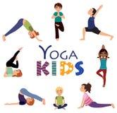 Йога для детей Установленные представления Asanas Стоковые Изображения