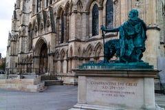 Йорк, Великобритания - 11/18/2017: Статуя Constatine Grea Стоковая Фотография RF