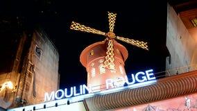 Кабаре на ноче, Париж румян Moulin, Франция, акции видеоматериалы