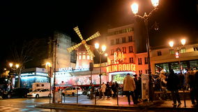 Кабаре на ноче, Париж румян Moulin, Франция, видеоматериал
