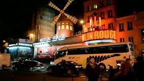Кабаре на ноче, Париж румян Moulin, Франция, сток-видео