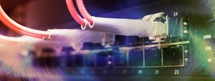 кабели подключили переключатель оптического волокна к Стоковая Фотография RF