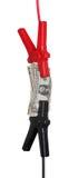 кабели Скачк-старта с долларами Стоковые Фото