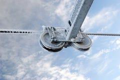 кабель заморозил стальные колеса стоковое изображение rf
