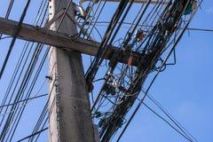 Кабель с голубым небом и пасмурное Стоковые Фотографии RF