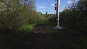 Кабел-кран в парке, видеоматериал