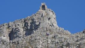 Кабел-кран горы таблицы, Кейптаун (Кейптаун, южная Африка 15-ое августа 2016) сток-видео