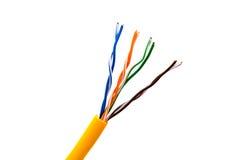 Кабельная проводка локальных сетей или желтый гибкий провод с парой Стоковое Изображение