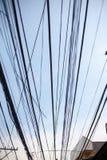 Кабельная сеть перед голубым небом Стоковое фото RF