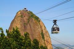 Кабель автомобильный Рио-де-Жанейро горы хлебца сахара Стоковые Изображения